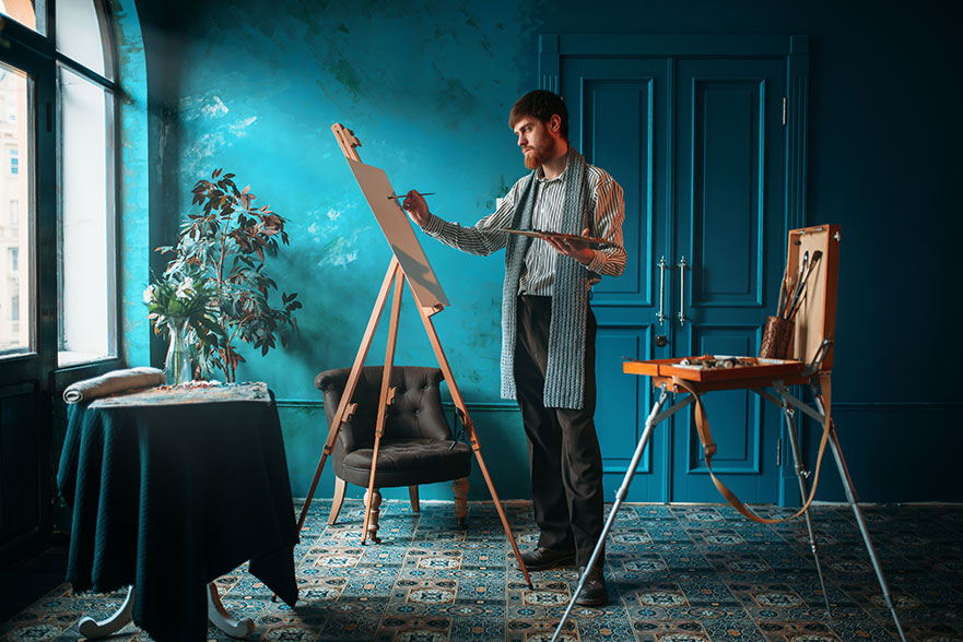 Artist Drawing New Paint in Blue Room